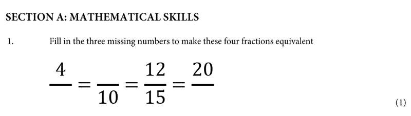 St Albans School - 11 Plus Maths Entrance Exam Paper 2019 Question 01, Numbers, Fractions, Multiples