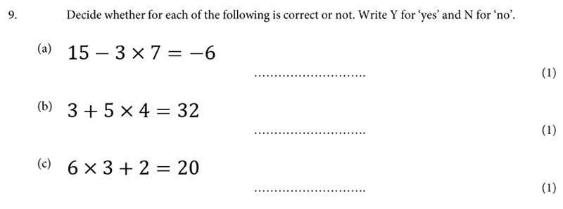 St Albans School - 11 Plus Maths Entrance Exam Paper 2019 Question 09, Algebra, BIDMAS