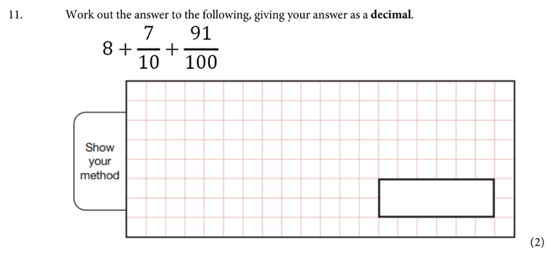 St Albans School - 11 Plus Maths Entrance Exam Paper 2019 Question 11, Numbers, Fractions, Decimals, Addition