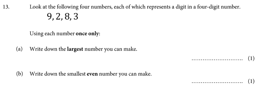 St Albans School - 11 Plus Maths Entrance Exam Paper 2019 Question 13, Numbers, Order and Compare Numbers, Even Numbers