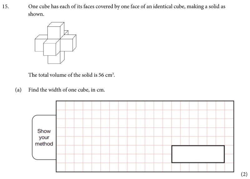 St Albans School - 11 Plus Maths Entrance Exam Paper 2019 Question 15, Geometry, Volume, Area & Perimeter, Cubes and Cuboids
