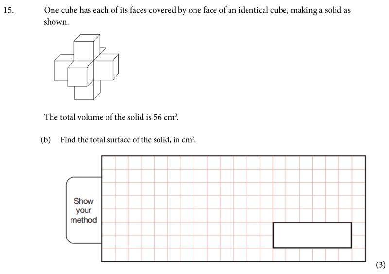 St Albans School - 11 Plus Maths Entrance Exam Paper 2019 Question 16, Geometry, Volume, Area & Perimeter, Cubes and Cuboids