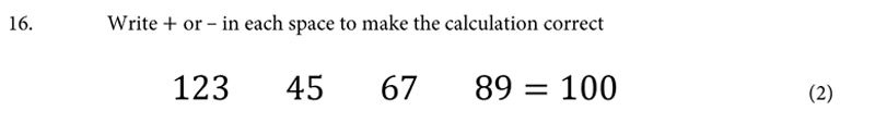 St Albans School - 11 Plus Maths Entrance Exam Paper 2019 Question 17, Numbers, Addition, Subtraction