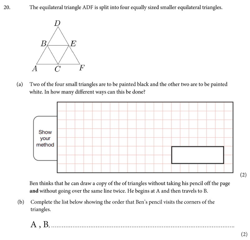 St Albans School - 11 Plus Maths Entrance Exam Paper 2019 Question 21, Geometry, Triangle, Permutation and Combinations