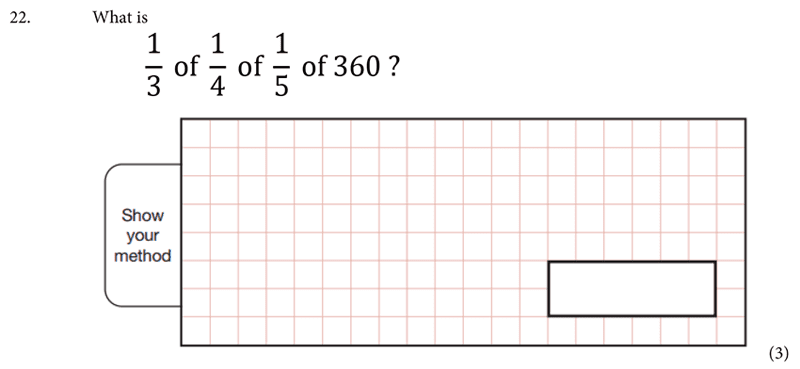 St Albans School - 11 Plus Maths Entrance Exam Paper 2019 Question 23, Numbers, Multiplication, Fractions