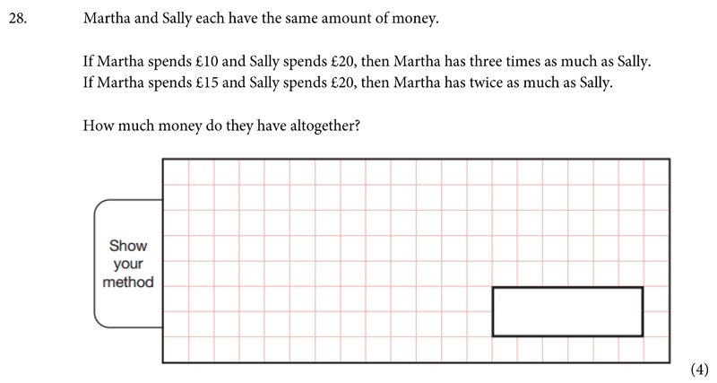 St Albans School - 11 Plus Maths Entrance Exam Paper 2019 Question 29, Numbers, Word Problems, Algebra, Linear Equations, Logical Problems