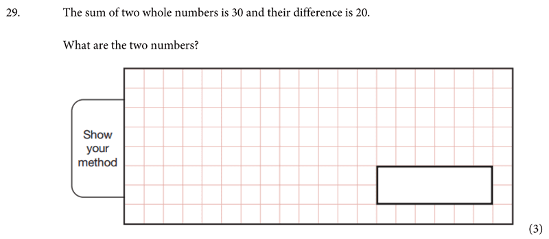 St Albans School - 11 Plus Maths Entrance Exam Paper 2019 Question 30, Numbers, Addition, Subtraction, Word Problems, Algebra, Simultaneous Equations