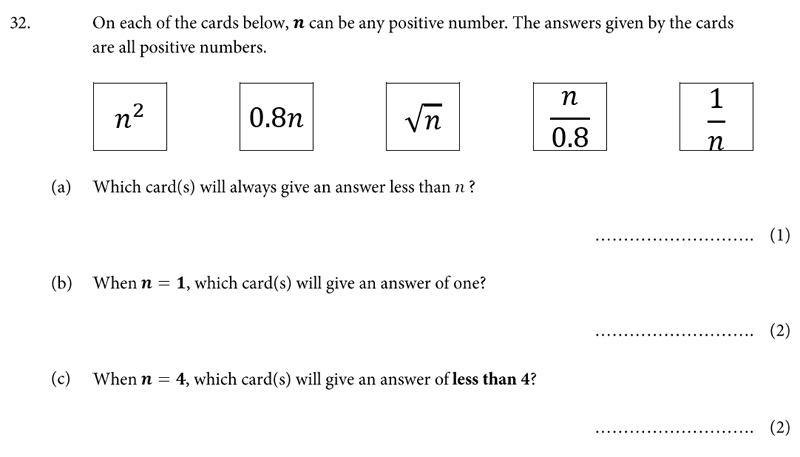 St Albans School - 11 Plus Maths Entrance Exam Paper 2019 Question 34, Numbers, Fractions, Decimals, square numbers, Logical Problems