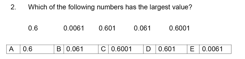 Streatham and Clapham High School - 11+ Maths Entrance Exam Section A and B 2019 Question 02, Numbers, Order and Compare Numbers, Decimals