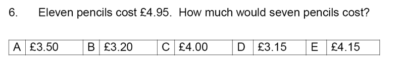 Streatham and Clapham High School - 11+ Maths Entrance Exam Section A and B 2019 Question 06, Numbers, Word Problems, Ratio and Proportion