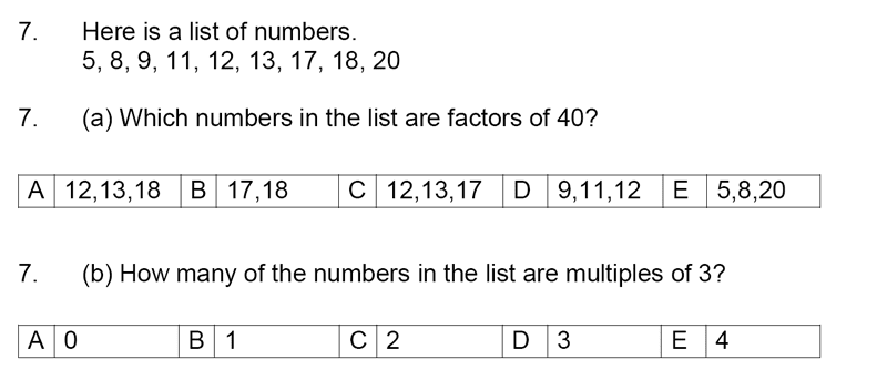Streatham and Clapham High School - 11+ Maths Entrance Exam Section A and B 2019 Question 07, Numbers, Factors, Multiples