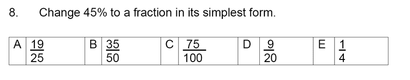 Streatham and Clapham High School - 11+ Maths Entrance Exam Section A and B 2019 Question 08, Numbers, Percentages, Fractions