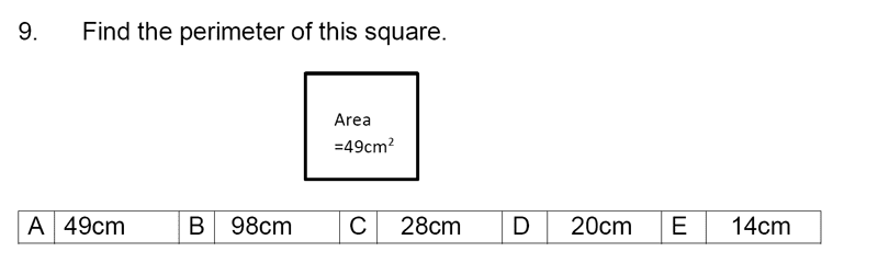 Streatham and Clapham High School - 11+ Maths Entrance Exam Section A and B 2019 Question 09, Geometry, Squares, Area & Perimeter