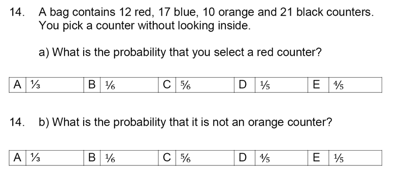 Streatham and Clapham High School - 11+ Maths Entrance Exam Section A and B 2019 Question 14, Numbers, Fractions, Word Problems, Probability