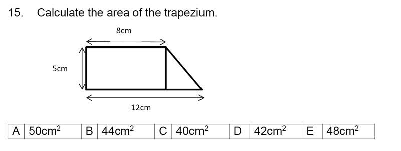 Streatham and Clapham High School - 11+ Maths Entrance Exam Section A and B 2019 Question 15, Geometry, Polygons, Area & Perimeter