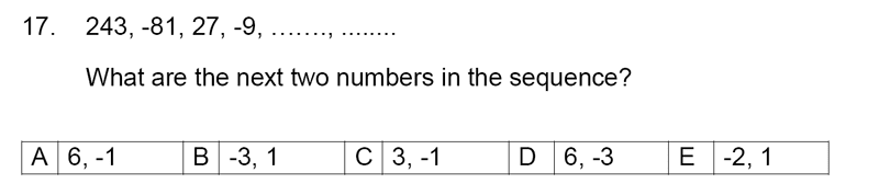 Streatham and Clapham High School - 11+ Maths Entrance Exam Section A and B 2019 Question 17, Number Patterns and Sequences