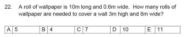 Streatham and Clapham High School - 11+ Maths Entrance Exam Section A and B 2019 Question 22, Numbers, Word Problems, Geometry, Area & Perimeter