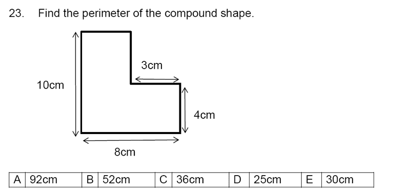 Streatham and Clapham High School - 11+ Maths Entrance Exam Section A and B 2019 Question 23, Geometry, Area & Perimeter, Compound Shapes