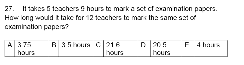 Streatham and Clapham High School - 11+ Maths Entrance Exam Section A and B 2019 Question 27, Numbers, Word Problems, Ratio and Proportion, Time