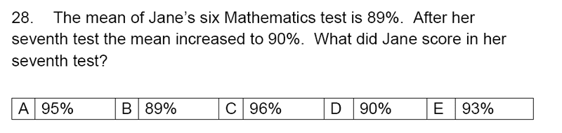 Streatham and Clapham High School - 11+ Maths Entrance Exam Section A and B 2019 Question 28, Numbers, Percentages, Word Problems, Statistics, Mean Median Mode Range