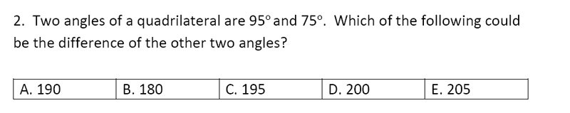 Streatham and Clapham High School - 11+ Maths Entrance Exam Section A and B 2019 Question 30, Geometry, Angles, Polygons