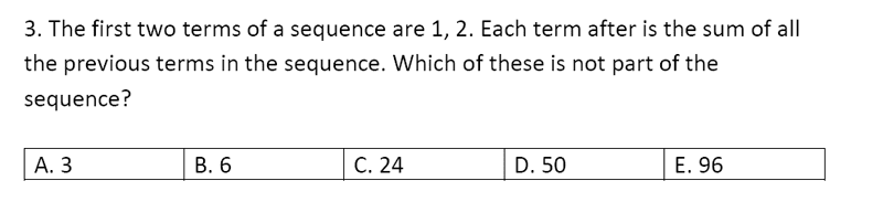 Streatham and Clapham High School - 11+ Maths Entrance Exam Section A and B 2019 Question 31, Number Patterns and Sequences