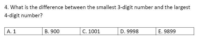 Streatham and Clapham High School - 11+ Maths Entrance Exam Section A and B 2019 Question 32, Numbers, Subtraction