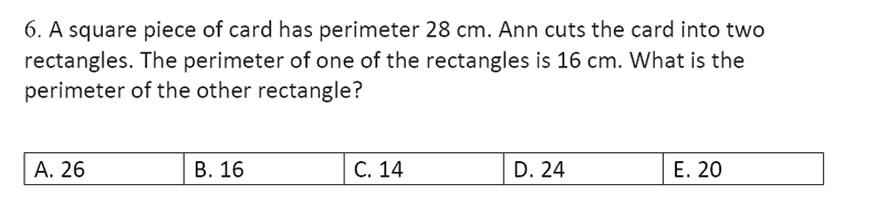 Streatham and Clapham High School - 11+ Maths Entrance Exam Section A and B 2019 Question 34, Geometry, Squares, Area & Perimeter, Rectangle, Logical Problems
