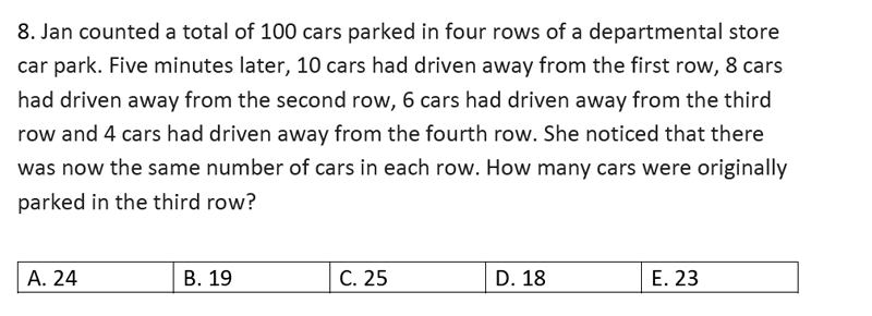Streatham and Clapham High School - 11+ Maths Entrance Exam Section A and B 2019 Question 36, Numbers, Word Problems, Algebra, Linear Equations, Logical Problems