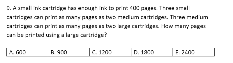 Streatham and Clapham High School - 11+ Maths Entrance Exam Section A and B 2019 Question 37, Numbers, Word Problems, Ratio and Proportion