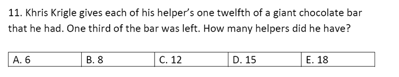 Streatham and Clapham High School - 11+ Maths Entrance Exam Section A and B 2019 Question 39, Numbers, Fractions, Word Problems