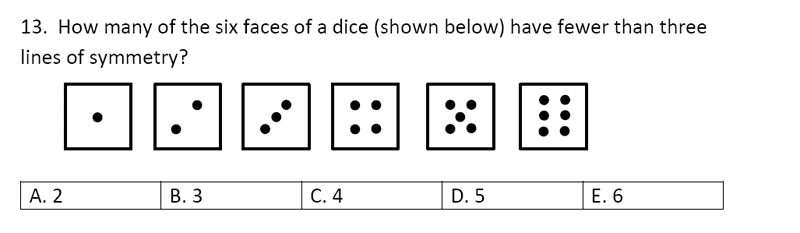 Streatham and Clapham High School - 11+ Maths Entrance Exam Section A and B 2019 Question 41, Geometry, Line symmetry