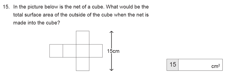 The Manchester Grammar School 11 Plus Papers Arithmetic A - 2019 Question 15, Geometry, Nets of Solids, Area & Perimeter, Cubes and Cuboids, 3D Shapes