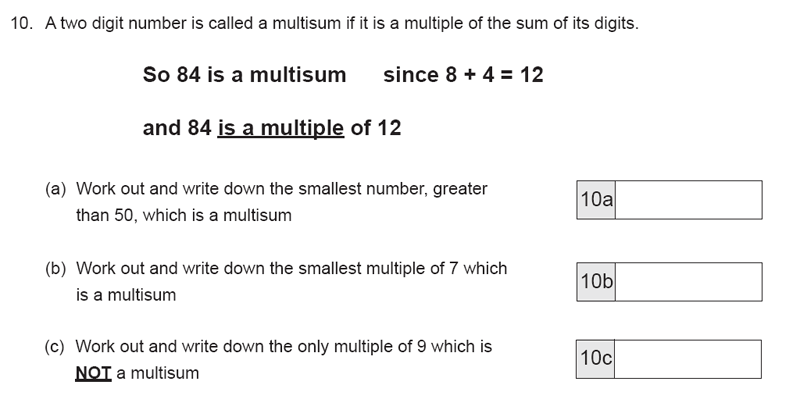 The Manchester Grammar School 11 Plus Papers Arithmetic B - 2019 Question 19, Numbers, Factors, Multiples, Logical Problems