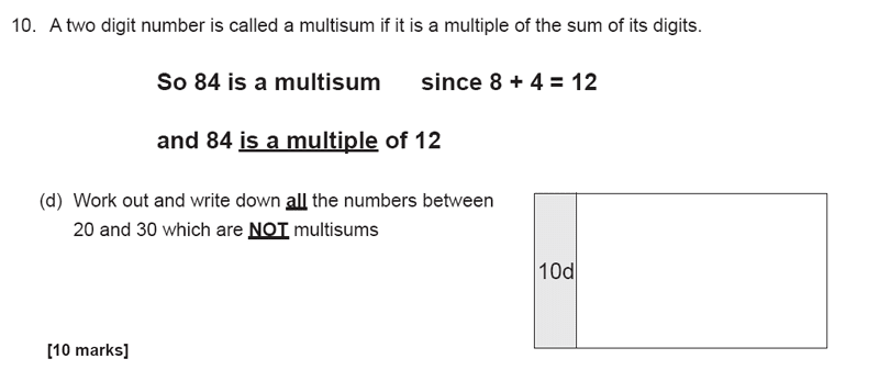 The Manchester Grammar School 11 Plus Papers Arithmetic B - 2019 Question 20, Numbers, Factors, Multiples, Logical Problems