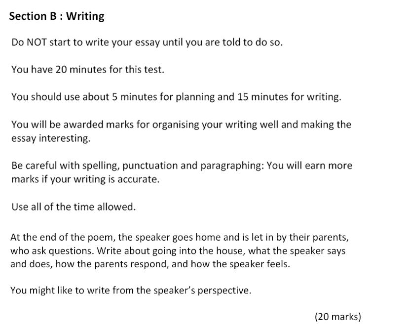 Bancroft's School - 11 Plus Entrance Examination English Paper 2017 Creative Writing Question 01