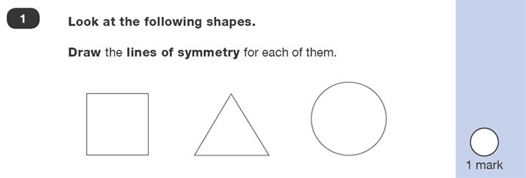 Question 01 Maths KS1 SATs Test Paper 2 - Reasoning Part B, Geometry, Lines of symmetry, 2D shapes