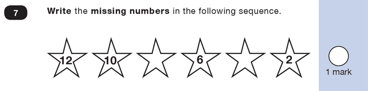 Question 07 Maths KS1 SATs Exam Paper 1 - Reasoning Part B, Calculations, Subtraction, Missing digits, Numbers, Counting forward
