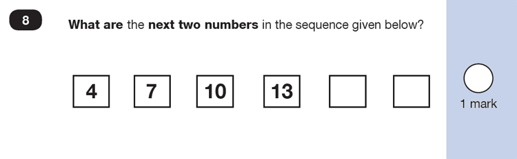Question 08 Maths KS1 SATs Past Paper 4 - Reasoning Part B, Calculations, Addition, Numbers, Counting forward