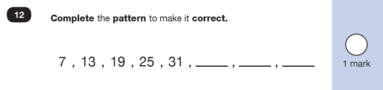 Question 12 Maths KS1 SATs Exam Paper 6 - Reasoning Part B, Calculations, Addition, Numbers, Counting forward