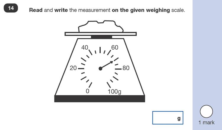 Question 14 Maths KS1 SATs Sample Paper 2 - Reasoning Part B, Measurement, Scale reading