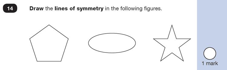 Question 14 Maths KS1 SATs Sample Paper 5 - Reasoning Part B, Geometry, Lines of symmetry