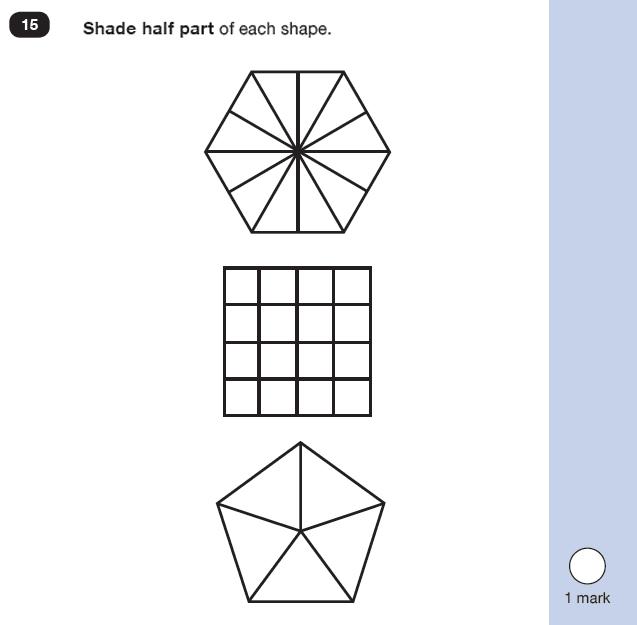 Question 15 Maths KS1 SATs Practice Paper 6 - Reasoning Part B, Geometry, 2D shapes, Fractions
