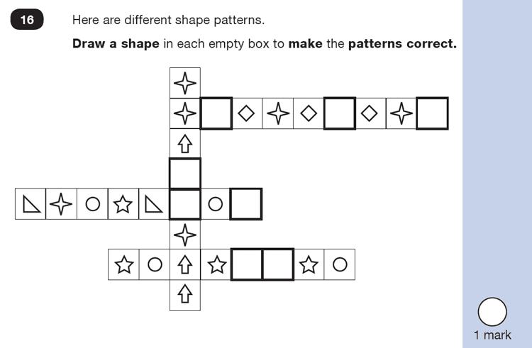 Question 16 Maths KS1 SATs Test Paper 1 - Reasoning Part B, Geometry, Draw Shapes