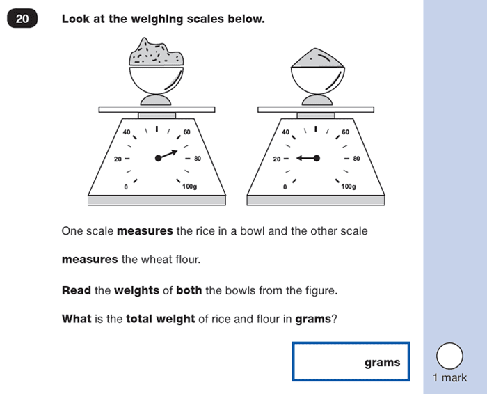 Question 20 Maths KS1 SATs Practice Paper 1 - Reasoning Part B, Calculations, Addition, Measurement, Scale reading, Word problems