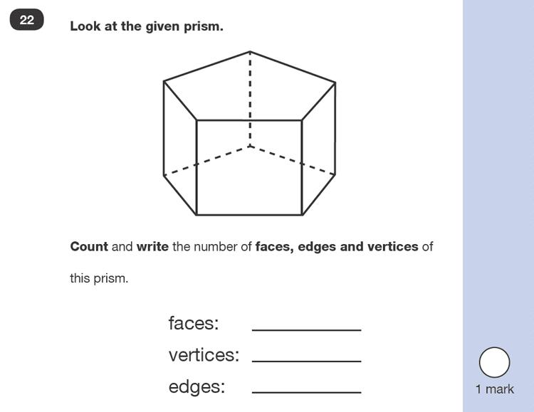 Question 22 Maths KS1 SATs Exam Paper 2 - Reasoning Part B, Geometry, 3D shapes