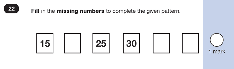 Question 22 Maths KS1 SATs Exam Paper 4 - Reasoning Part B, Calculations, Addition, Missing digits, Numbers, Counting forward