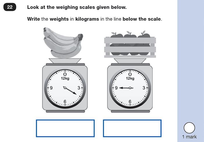 Question 22 Maths KS1 SATs Exam Paper 5 - Reasoning Part B, Measurement, Estimate