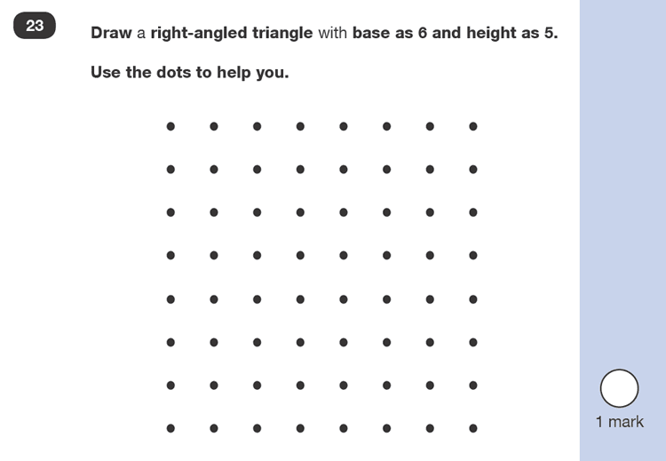 Question 23 Maths KS1 SATs Past Paper 2 - Reasoning Part B, Geometry, 2D shapes, Draw Shapes