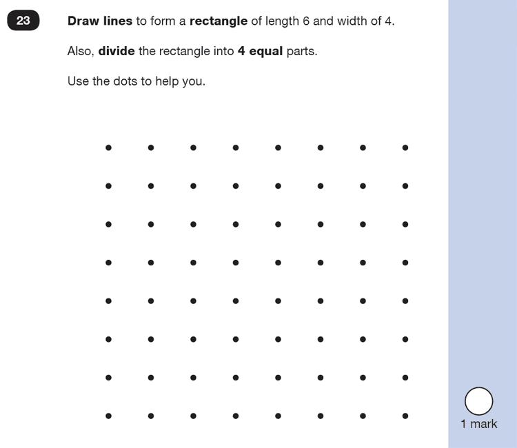 Question 23 Maths KS1 SATs Past Paper 3 - Reasoning Part B, Geometry, 2D shapes, Draw Shapes